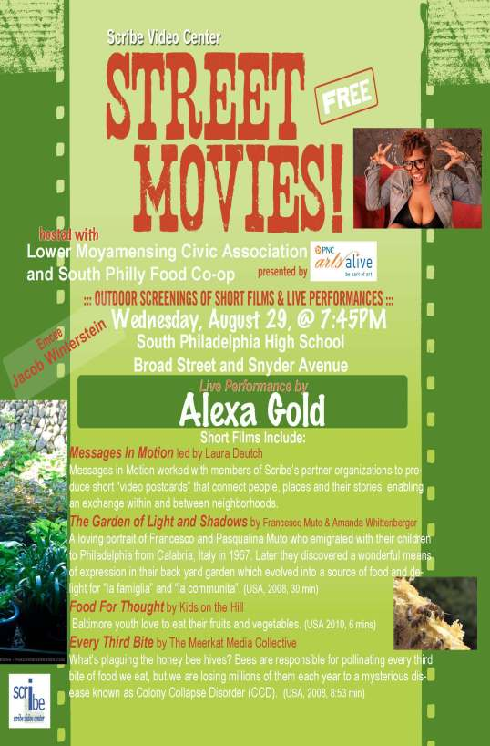 Flier for South Philly Food Co-op movie night with Scribe and LoMo Civic