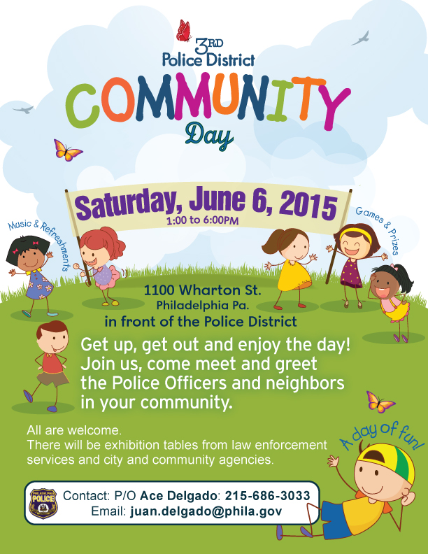 Flyer for 3rd Police District Community Day, 6/6/2015, 1-6 PM