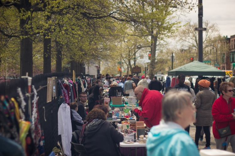 Flea market crowd on Broad Street between Snyder and Jackson