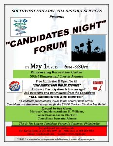 Flyer for Southwest Philadelphia District Services candidate forum