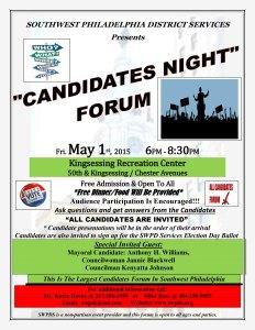 Flyer for Southwest Philadelphia District Services candidate forum